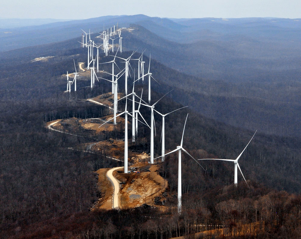 West Virginia wind turbines destroy a mountain top and the view - note the land surrounding the base of the turbines, now picture a grape vineyard