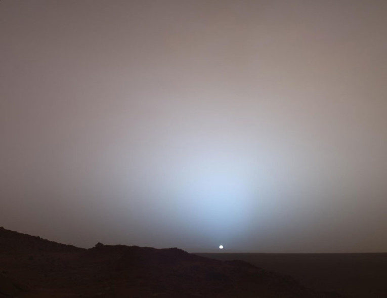 sunset on mars nasa