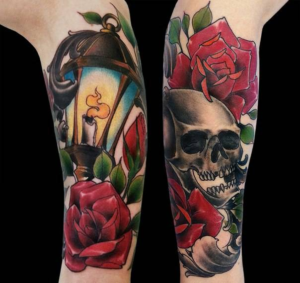 Tattoo on the forearm of a man - rose, skull and lantern
