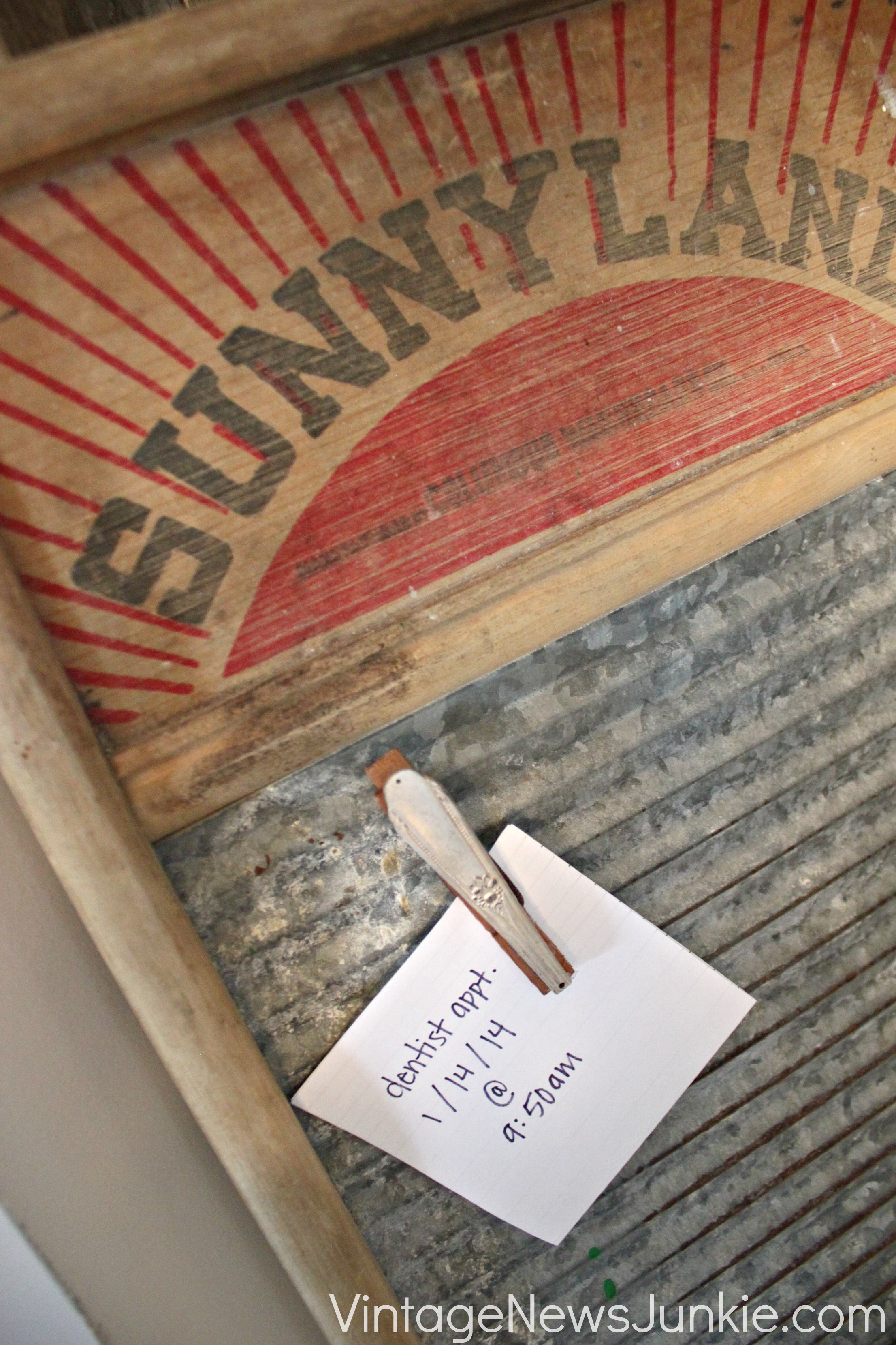 Vintage Washboard for Organizing Notes