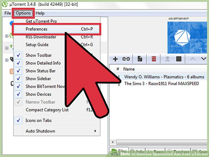 Image titled Remove Sponsored Ads from uTorrent Step 2
