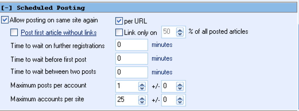 GSA Search Engine Ranker submissions per account