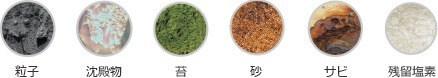 粒子 沈殿物 苔 砂 サビ 残留塩素
