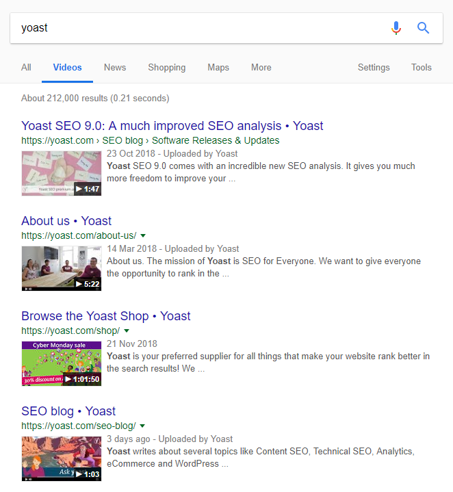 """Google Video results for """"Yoast"""""""