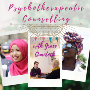 psychotherapeutic counselling with grace quantock - photo of women, in hijab, headwraps and with short hair, sitting talking