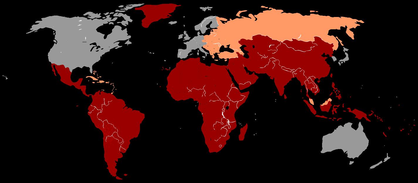 التهاب الكبد الالفي منتشر في جميع انحاء العالم  ولكن النسبه أعلى بكثير في دول العالم الثالث