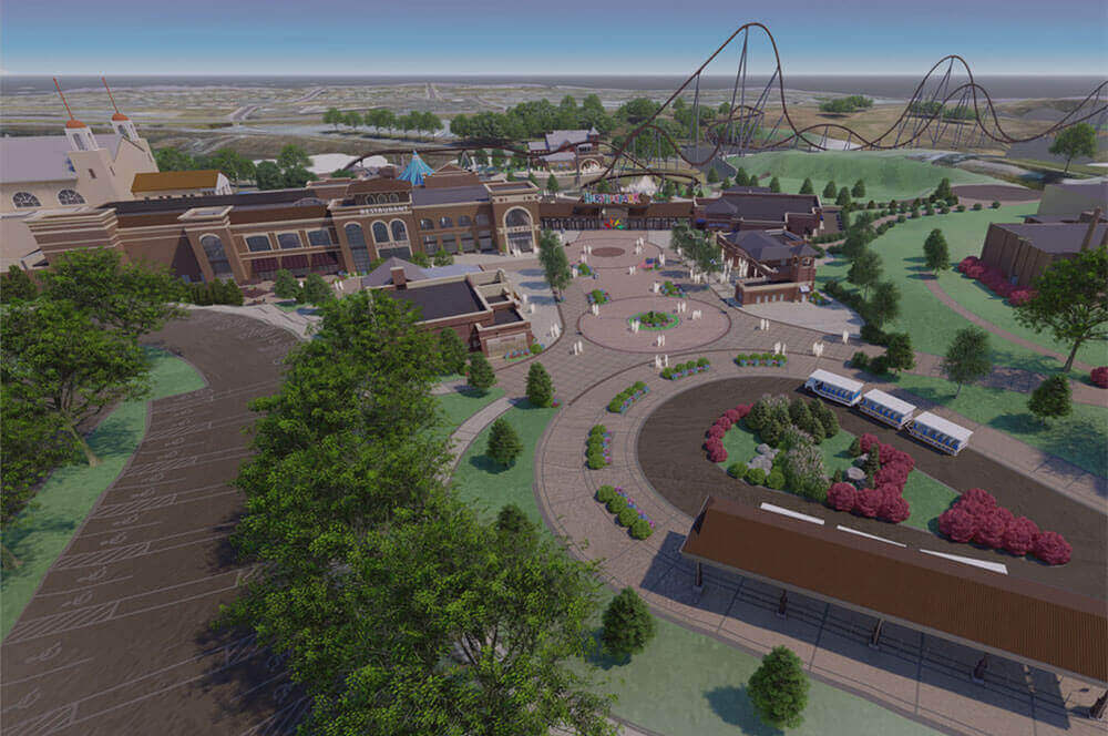 Aerial view of 2020 entrance to Hersheypark