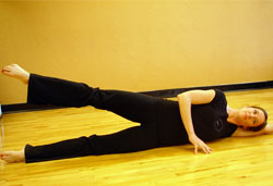 Side lying leg circles pilates exercises for golfers