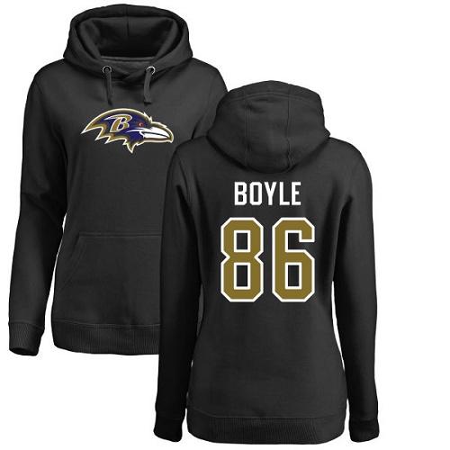 Women's Nick Boyle Black Name & Number Logo Football : Baltimore Ravens #86 Pullover Hoodie