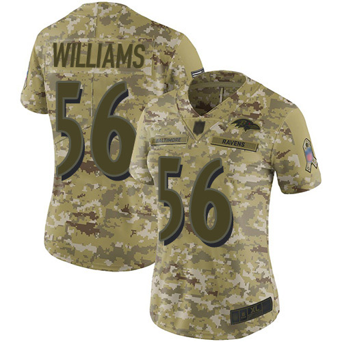 Women's Tim Williams Camo Limited Football Jersey: Baltimore Ravens #56 2018 Salute to Service  Jersey