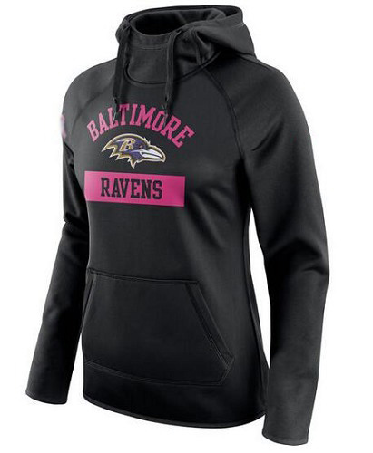 Football Baltimore Ravens  Women's Breast Cancer Awareness Circuit Performance Pullover Hoodie - Black