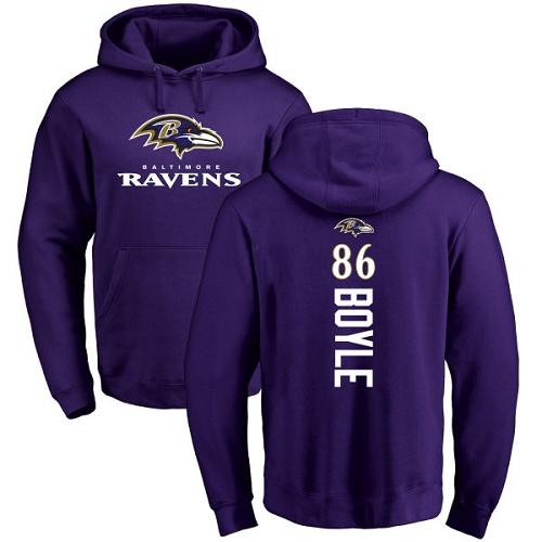Nick Boyle Purple Backer Football : Baltimore Ravens #86 Pullover Hoodie