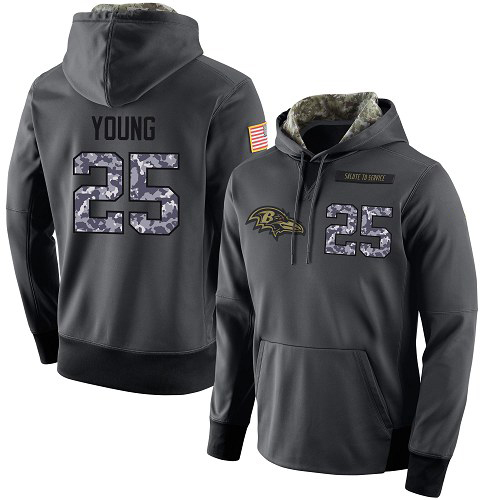 Football Men's  Baltimore Ravens #25 Tavon Young Stitched Black Anthracite Salute to Service Player Performance Hoodie
