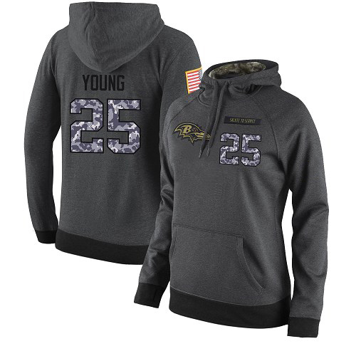 Football Women's  Baltimore Ravens #25 Tavon Young Stitched Black Anthracite Salute to Service Player Performance Hoodie