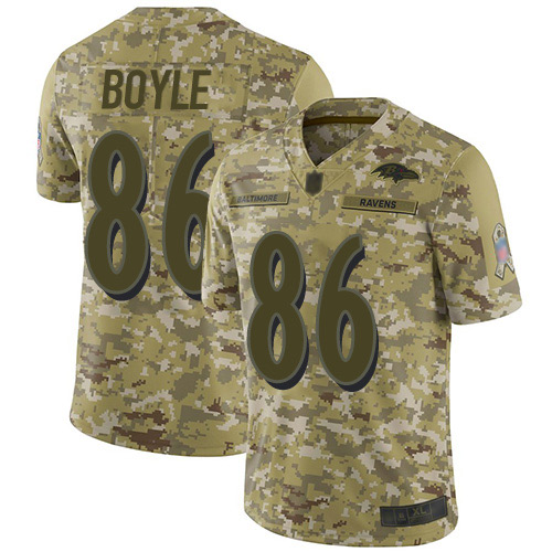 Youth Nick Boyle Camo Limited Football Jersey: Baltimore Ravens #86 2018 Salute to Service  Jersey