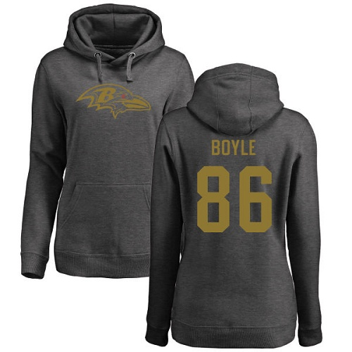 Women's Nick Boyle Ash One Color Football : Baltimore Ravens #86 Pullover Hoodie