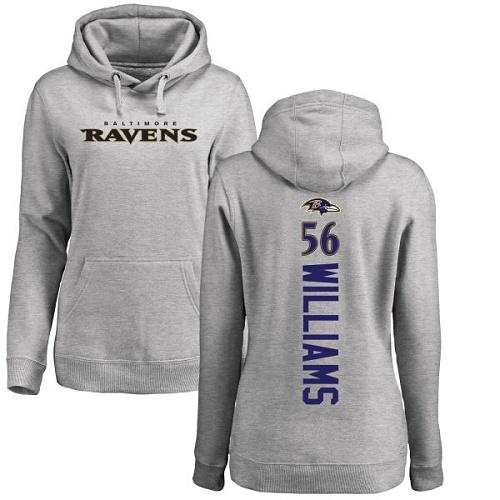 Women's Tim Williams Ash Backer Football : Baltimore Ravens #56 Pullover Hoodie