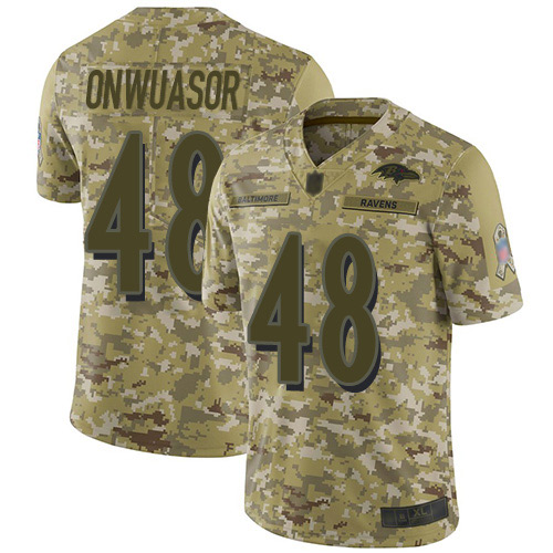 Youth Patrick Onwuasor Camo Limited Football Jersey: Baltimore Ravens #48 2018 Salute to Service  Jersey