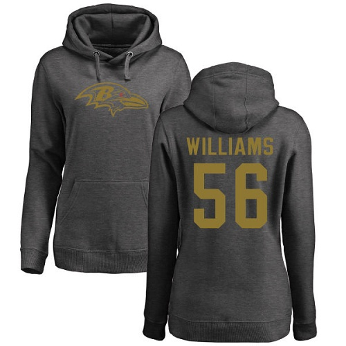 Women's Tim Williams Ash One Color Football : Baltimore Ravens #56 Pullover Hoodie