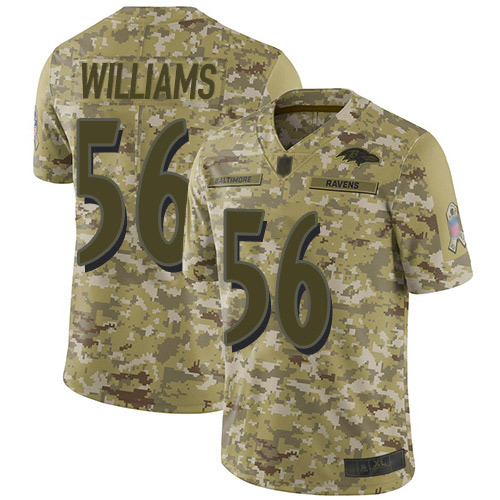 Youth Tim Williams Camo Limited Football Jersey: Baltimore Ravens #56 2018 Salute to Service  Jersey