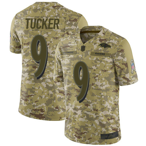 Men's Justin Tucker Camo Limited Football Jersey: Baltimore Ravens #9 2018 Salute to Service  Jersey