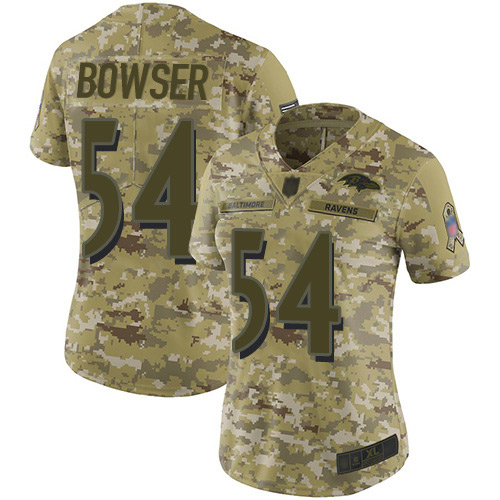 Women's Tyus Bowser Camo Limited Football Jersey: Baltimore Ravens #54 2018 Salute to Service  Jersey