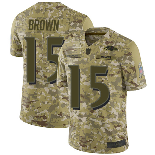 Men's Marquise Brown Camo Limited Football Jersey: Baltimore Ravens #15 2018 Salute to Service  Jersey