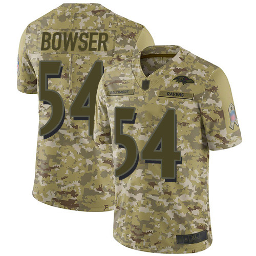 Youth Tyus Bowser Camo Limited Football Jersey: Baltimore Ravens #54 2018 Salute to Service  Jersey