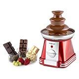 oneConcept Chocoloco Fuente de chocolate eléctrica (32 W, baño de chocolate de 350 g, recipiente acero inoxidable, 3 niveles cascadas extra suaves, apto fondue queso, color rojo)