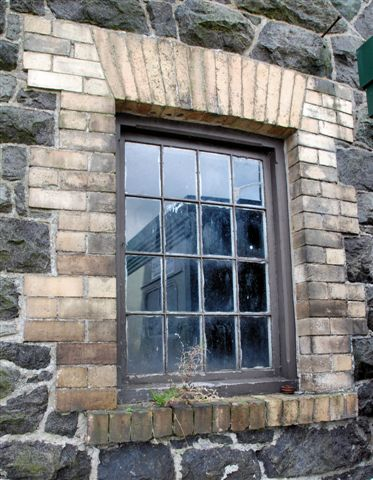 Original NWNGR window surviving on northern wall of Goods shed