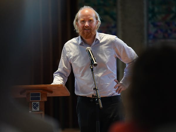 Bjorn Ihler, who survived terrorist Anders Breivik's shooting rampage in 2011, spoke at Macalester College this week.