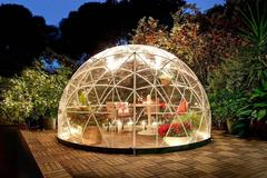Geodesic dome greenhouse looks like an igloo make of triangles