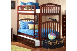Richland Bunk Twin over Twin with Raised Panel Trundle Bed in Antique Walnut
