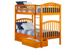 Richland Bunk Twin over Twin with Raised Panel Bed Drawers in Caramel Latte
