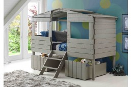 Donco Kids Twin Tree House Loft Bed Rustic Grey
