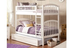 Richland Bunk Twin over Twin with Raised Panel Trundle Bed in White