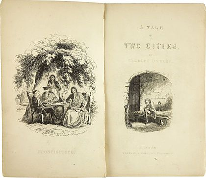 Charles Dickens: A Tale of Two Cities. With Illustrations by H. K. Browne. London: Chapman and Hall, 1859. First edition. Photography Hablot Knight Browne, Heritage Auctions, Inc. Dallas, Texas. Public Domain