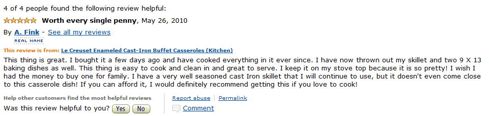 Review for Le Creuset Enameled Cast Iron Cookware