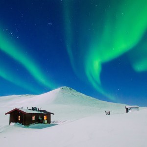 Northern lights over Kuornarjoki Cabin