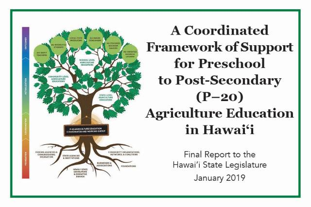 A Coordinated Framework of Support for Preschool to Post-Secondary (P-20) Agriculture Education in Hawai'i. Final Report to the Hawai'i State Legislature. January 2019