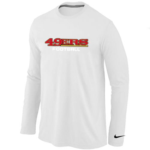 San Francisco 49ers Authentic Font Long Sleeve Football T-Shirt - White