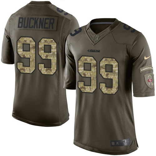 Youth DeForest Buckner Green Elite Football Jersey: San Francisco 49ers #99 Salute to Service  Jersey