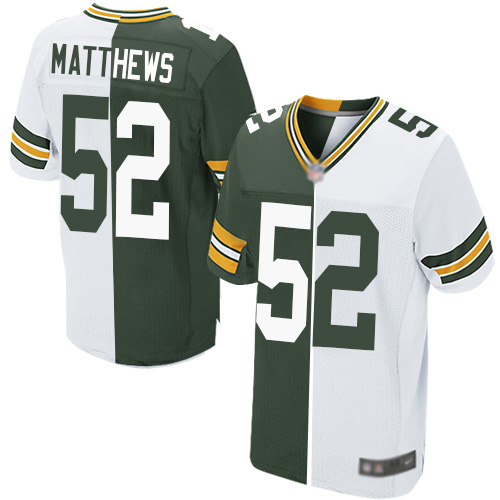 Men's Clay Matthews Green/White Elite Football Jersey: Green Bay Packers #52 Split Fashion  Jersey