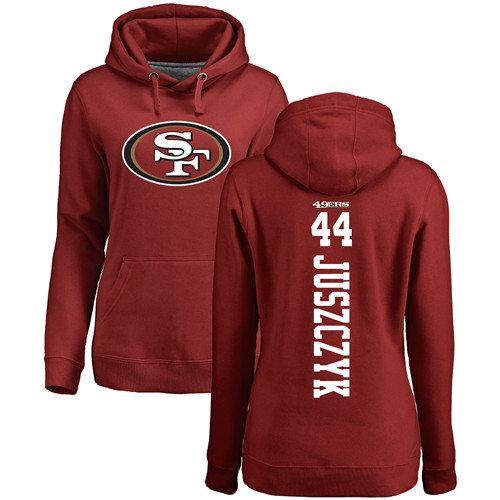 Women's Kyle Juszczyk Red Backer Football : San Francisco 49ers #44 Pullover Hoodie