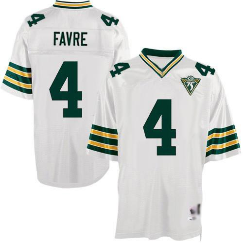 Men's Brett Favre White Road Authentic Football Jersey: Green Bay Packers #4 Throwback 75th Patch Mitchell and Ness Jersey