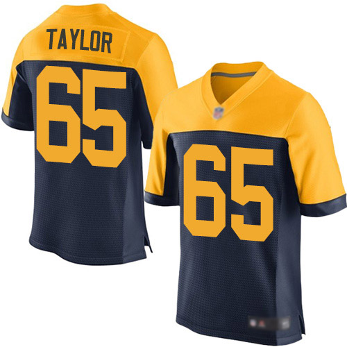 Men's Lane Taylor Navy Blue Alternate Elite Football Jersey: Green Bay Packers #65  Jersey