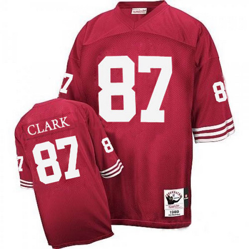 Men's Dwight Clark Red Home Authentic Football Jersey: San Francisco 49ers #87 Throwback Mitchell and Ness Jersey