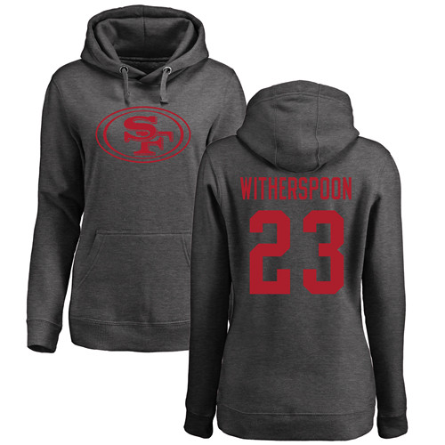 Women's Ahkello Witherspoon Ash One Color Football : San Francisco 49ers #23 Pullover Hoodie