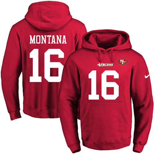 Football Men's  San Francisco 49ers #16 Joe Montana Red Name & Number Pullover Hoodie