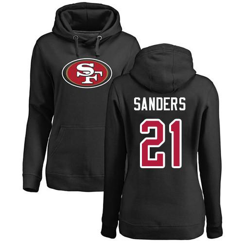 Women's Deion Sanders Black Name & Number Logo Football : San Francisco 49ers #21 Pullover Hoodie